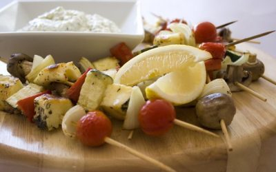 Barbecued Olympus Halloumi Kebabs with Olympus Fetta and Herb Dip