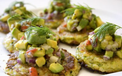 Zucchini and Halloumi Fritters with Avocado Salsa