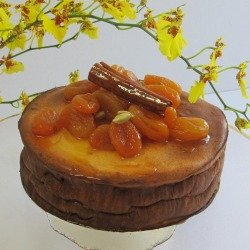 Baked Ricotta Cheesecake with Saffron Apricots