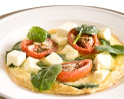 Roasted Roma Tomato, Spinach and Olympus Fetta Omelette