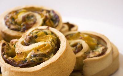 Roast Pumpkin, Proscuitto, Spinach and Olympus Fetta Scrolls