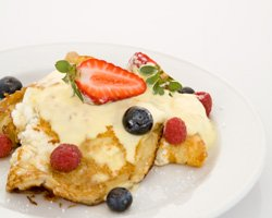 Olympus Ricotta Pancakes with Fresh Berries, Maple and Creme Fraiche