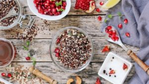 pomegranate and quinoa for halloumi salad