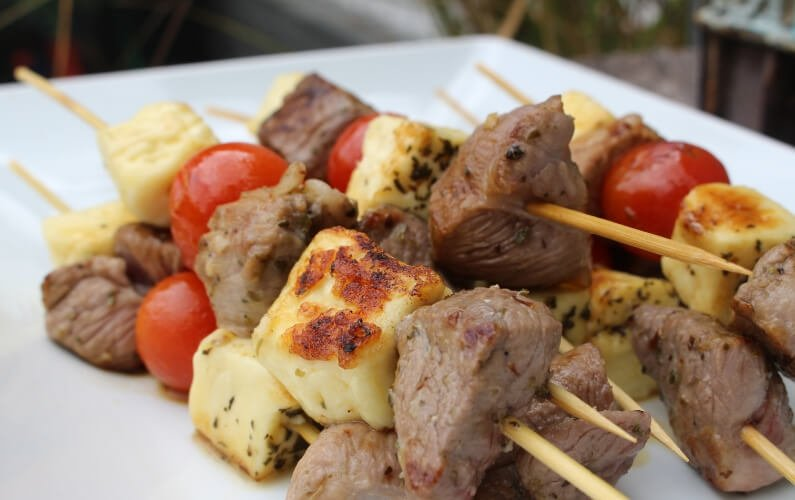 Marinated Lamb and Halloumi Skewers