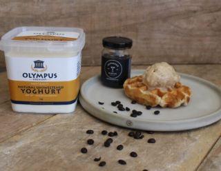 espress yoghurt semifreddo on waffle