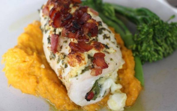 stuffed chicken breast with fetta cheese spinach and bacon