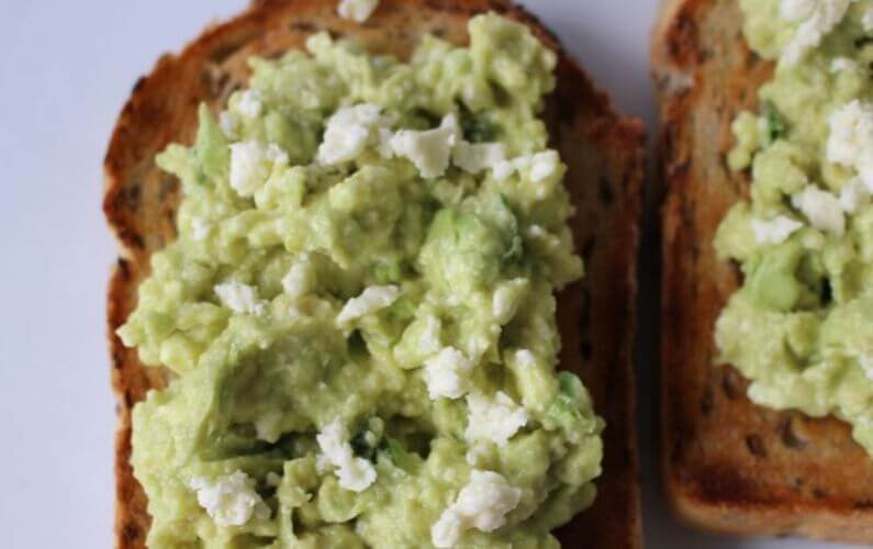 smashed avocado and fetta toast