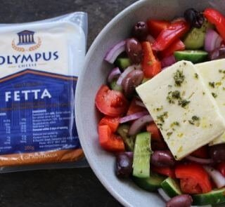 traditional greek salad with olympus fetta