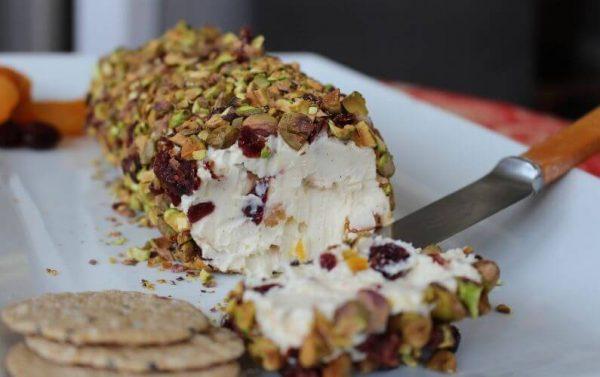 fetta pistachio cranberry cheese log