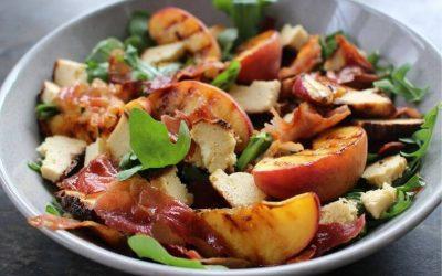 Baked Olympus Ricotta, Grilled Peach & Crispy Pancetta Salad