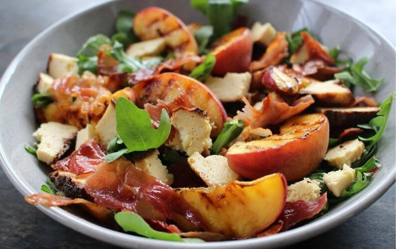Baked Olympus Ricotta, Grilled Peach & Crispy Pancetta Salad