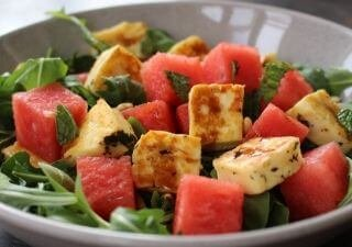 fried olympus halloumi and watermelon salad with mint and rocket