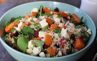 olympus fetta and sweet potato salad with brown rice