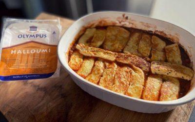 Lentil and Halloumi Bake with Chorizo